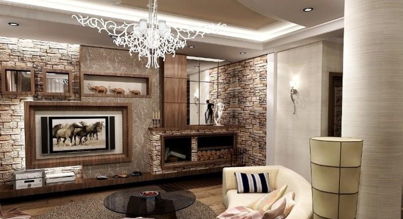 Внутренняя отделка дома с использованием панелей под камень