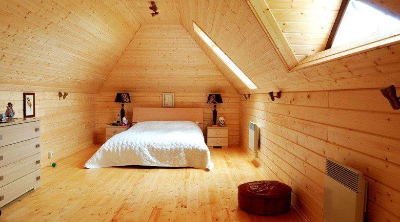 Имитация бруса в интерьере спальни