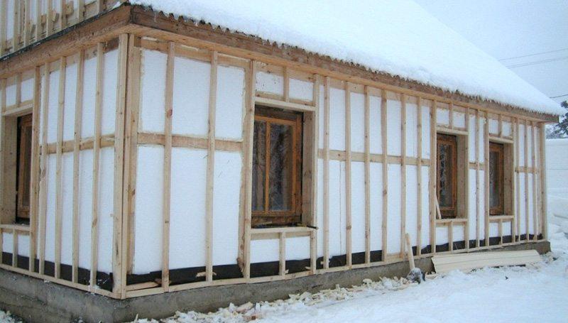 Утепление каркасного дома пенополистиролом и пенопластом