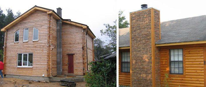 Деревянные дома с наружным дымоходом