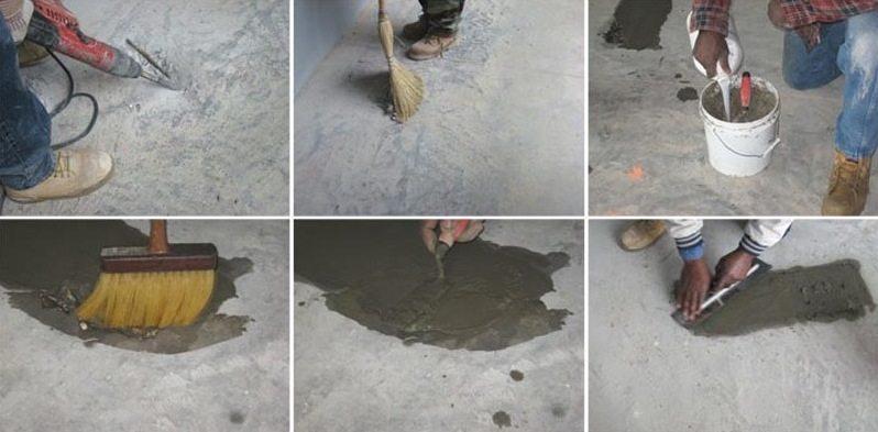 Ремонт легких повреждений в бетоне