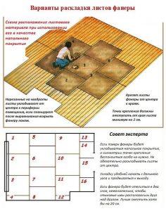 Настил листов фанеры на деревянный пол