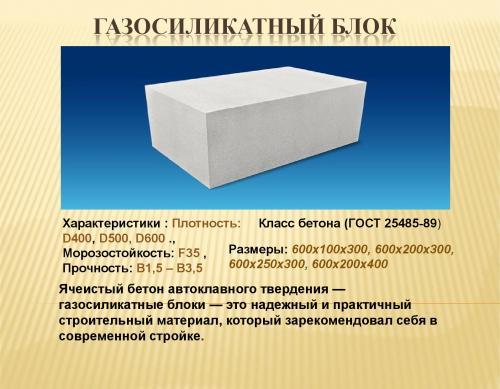 Характеристики газосиликатного блока