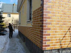 Облицовка фасада искусственным кирпичем