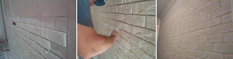 Отделка стены гипсовыми заготовками