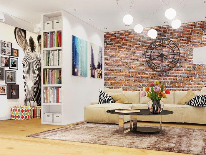 Декоративная кирпичная стена в комнате