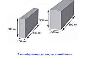 Стандартные размеры пеноблоков