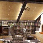 Деревянные балки на потолке с подсветкой