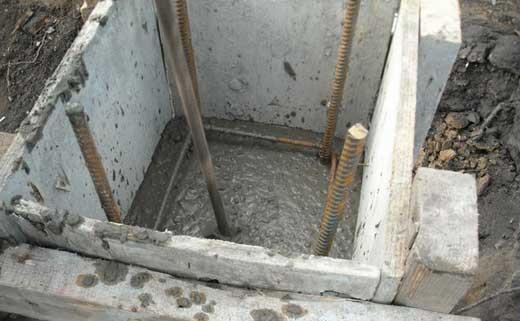 Заливка бетона в столбчатый фундамент