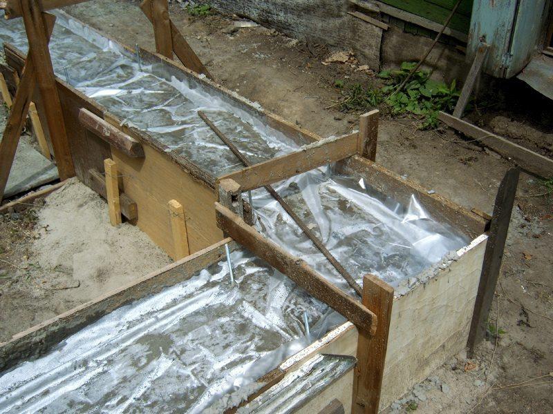 Укрытие бетона пленкой на ленточном фундаменте