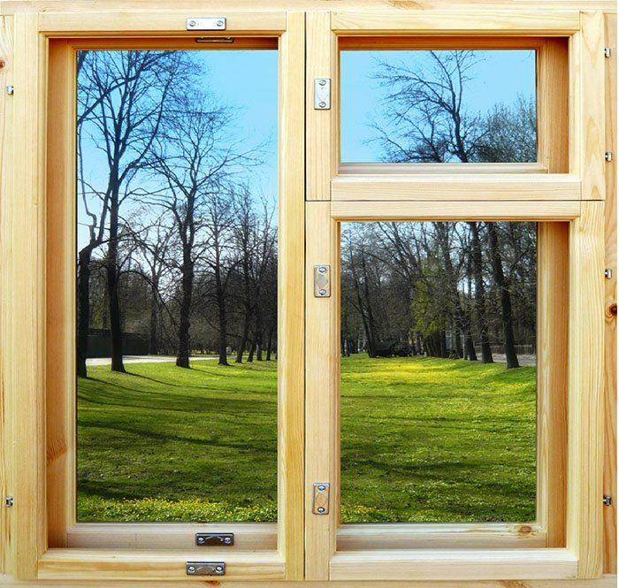 Деревянное дачное окно
