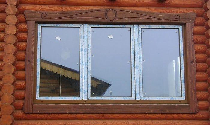 Деревянная обналичка пластикового окна