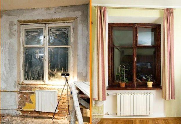 Вид деревянного окна до и после ремонта