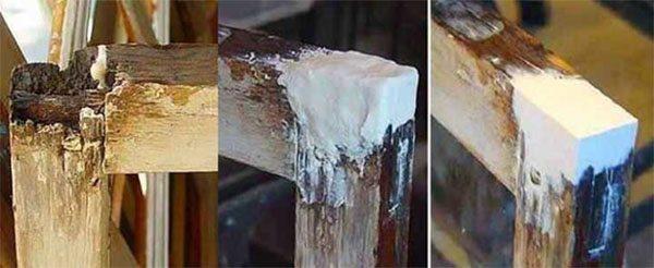 Шпаклевка дефектов деревянного окна