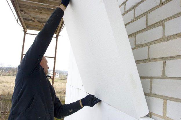 Термоизоляция стены пенопластом