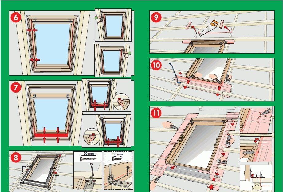 Установка мансардного окна. Шаги 6-11.