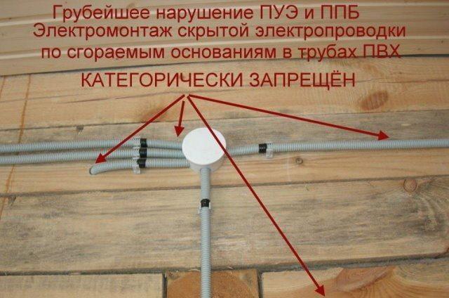 Нарушение техники безопасности проводки