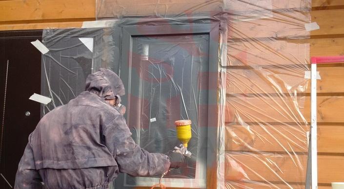 Покраска пластикового окна под дерево