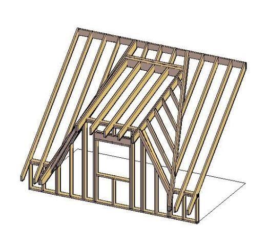 Схема деревянного каркаса слухового окна