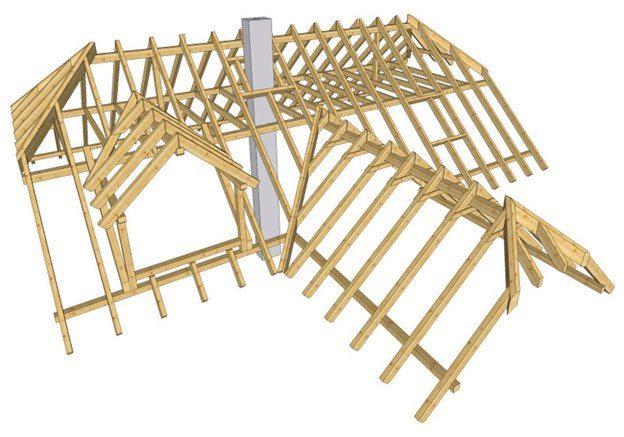 Конструкция крыши деревянного дома