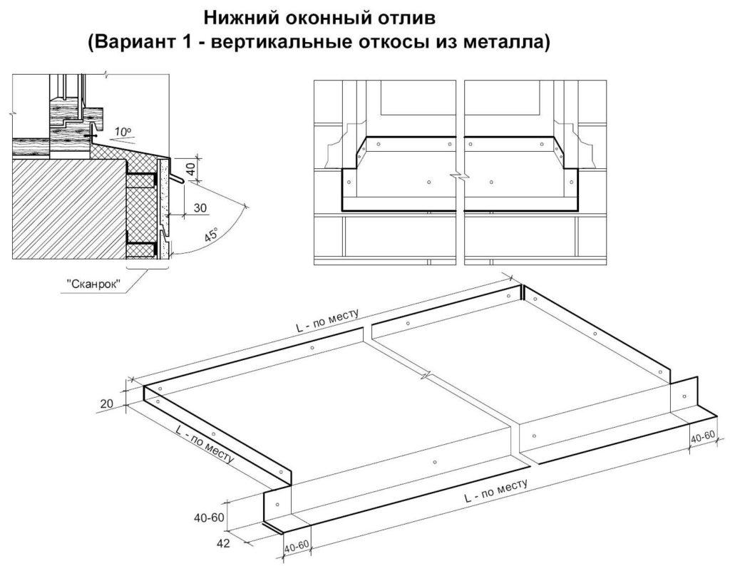 Схема подрезки нижнего металлического отлива