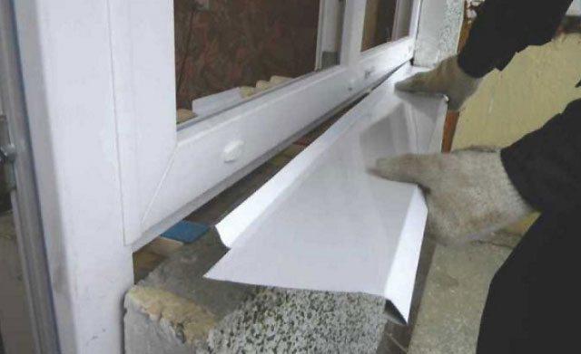 Монтаж отливов на окна