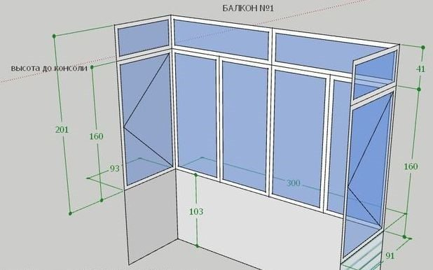 Схема замеров балкона
