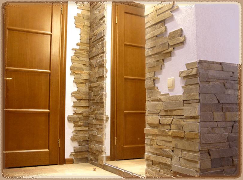 Отделка дверных откосов декоративным камнем