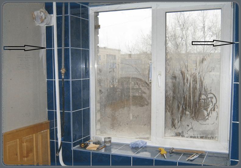 Отделка окна плиткой