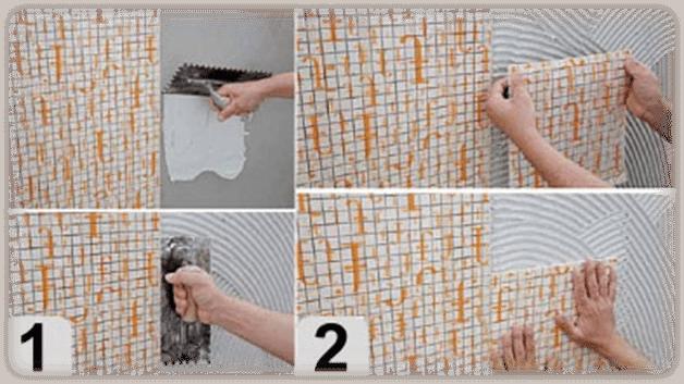 Приклеивание мозаичного полотна