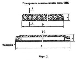 Поперечное сечение плиты типа 4ПК