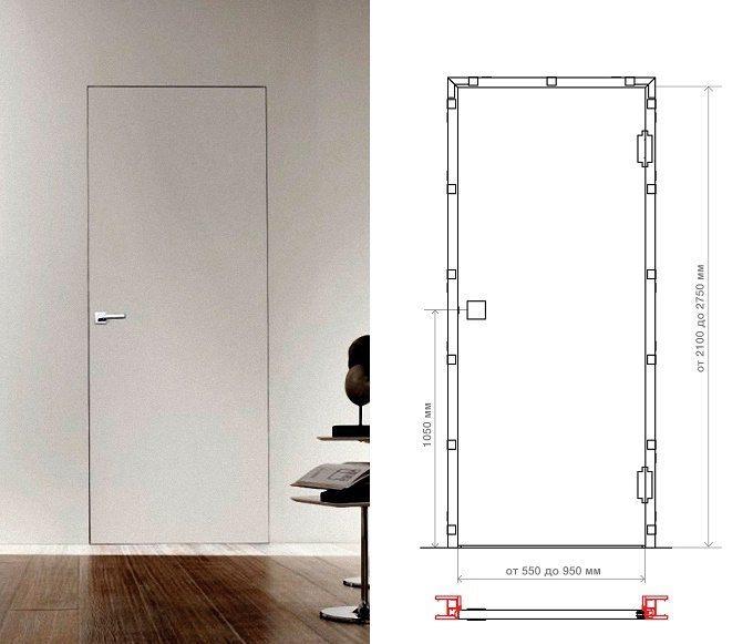 Схема двери со скрытым коробом
