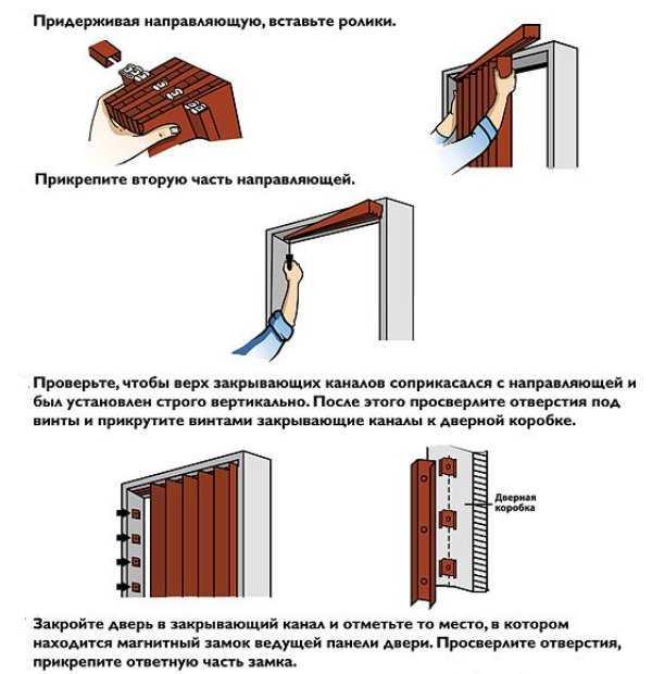 Схема монтажа двери гармошки