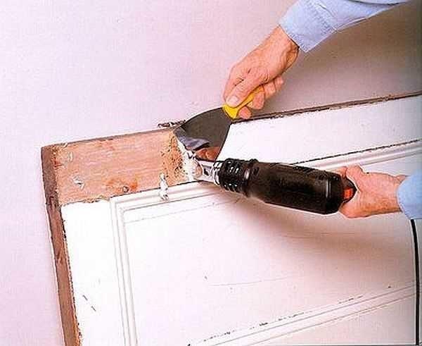 Снятие краски шпателем и феном