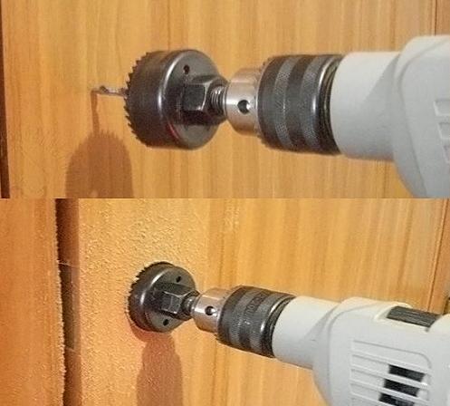 Высверливание отверстия под ручку и замок