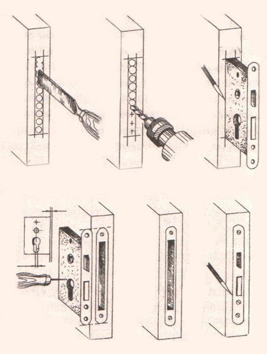 Схема монтажа врезного замка