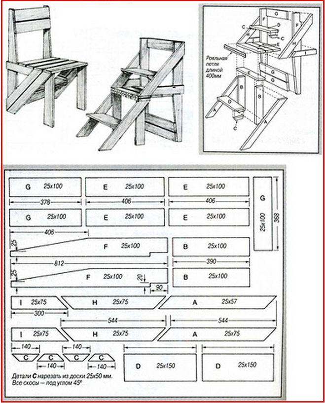 Опрокидывающийся стул-лестница