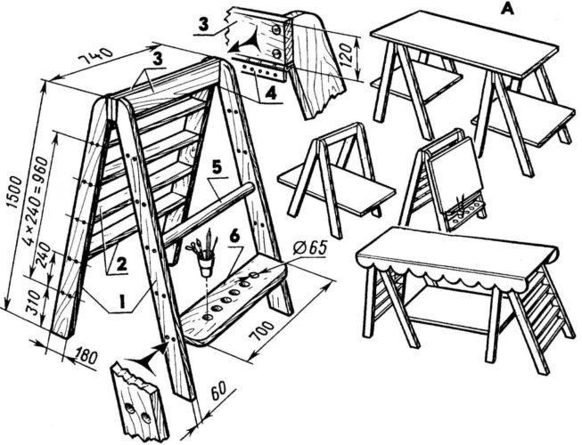 Чертеж лестницы-трансформера