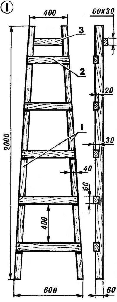 Чертеж приставной лестницы высотой 2 м