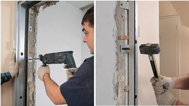 Крепление двери в проушины
