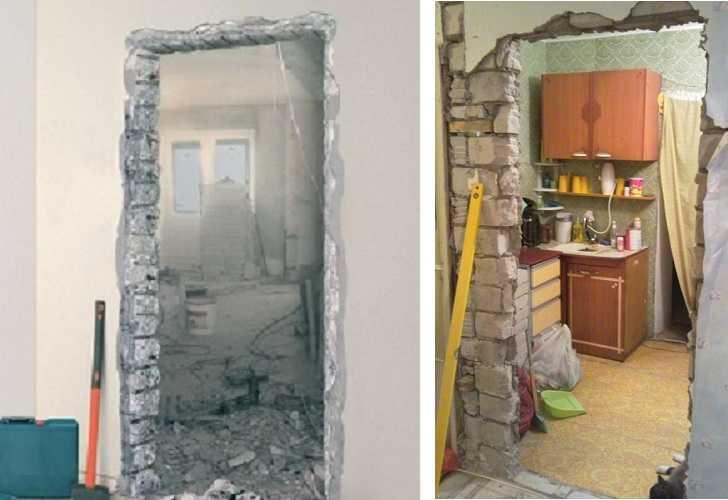 Чистый проем после демонтажа двери