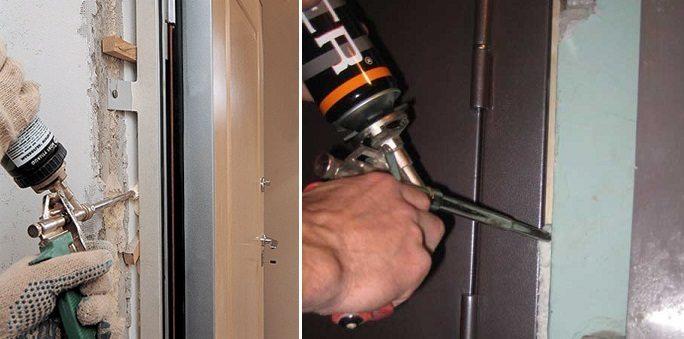 Запенивание дверной коробки
