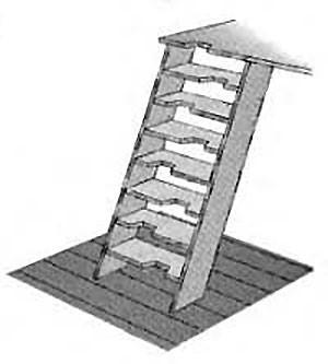 Комбинированный вариант крутой лестницы
