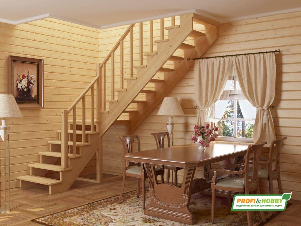 Светлая лестница без подступенков
