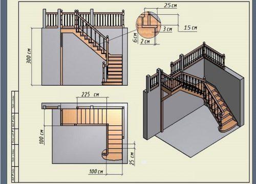 чертеж угловой лестницы с поворотной площадкой