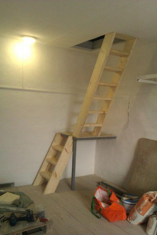 двухмаршевая лестница в подвал