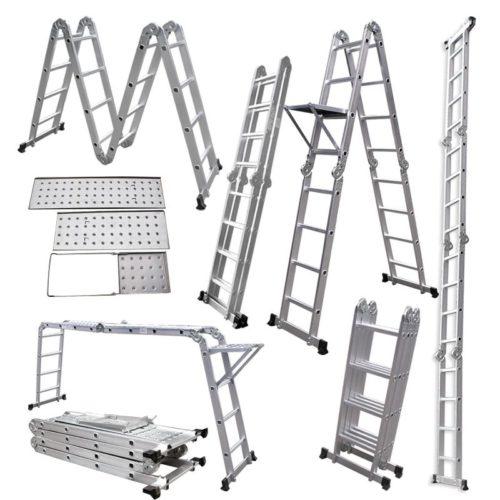 виды алюминиевых раздвижных лестниц