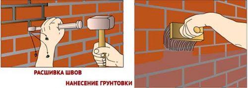 подготовка стен из кирпича