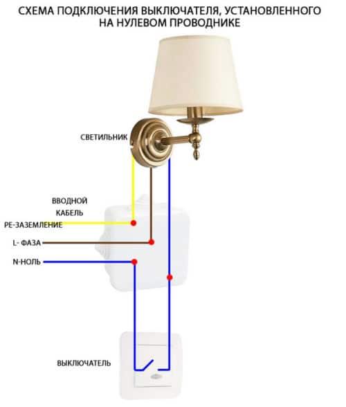 схема подключения осветительного прибора
