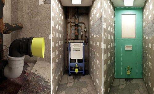 инсталляция закрывает коммуникации фальш стеной